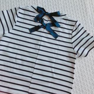 ミスティウーマン(mysty woman)のバックリボン Tシャツ ボーダー(Tシャツ(半袖/袖なし))