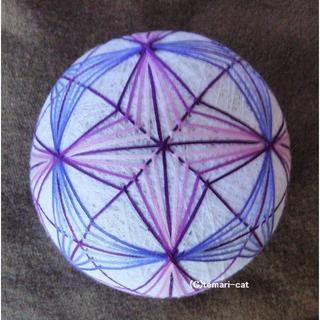 てまり 「紫陽花」 白地紫青 手まり 手毬 手鞠(インテリア雑貨)