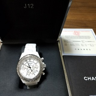シャネル(CHANEL)のJ12ホワイト☆41ミリ☆アフターブラックダイア☆美品☆(腕時計(アナログ))