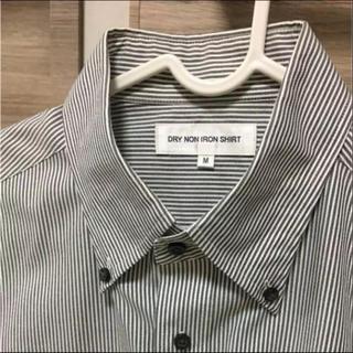 ユニクロ(UNIQLO)のユニクロ 半袖ワイシャツ Mサイズ グレーボーダー(シャツ)