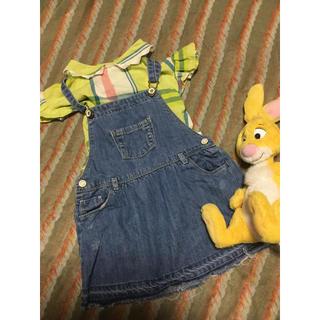 ザラキッズ(ZARA KIDS)のザラベビー  3歳サイズ  デニムオーバーオールスカート(ワンピース)