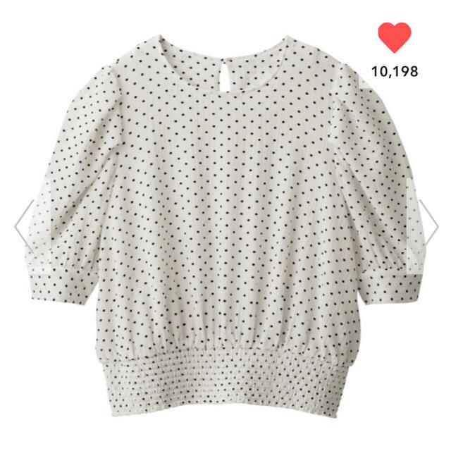 GU(ジーユー)のGU/ジーユー  ドットプリントブラウス XL ホワイト 白 レディースのトップス(シャツ/ブラウス(半袖/袖なし))の商品写真