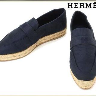 エルメス(Hermes)の超美品 エルメス 大人のシルクのエスパドリーユ 紺 35(スリッポン/モカシン)