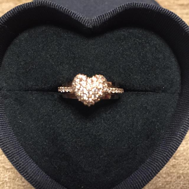 PonteVecchio(ポンテヴェキオ)のポンテヴェキオK18ピンクゴールドダイヤモンドハートリング8号 レディースのアクセサリー(リング(指輪))の商品写真