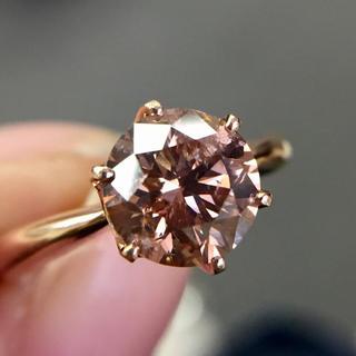 2ct ローズピンク ブラウン ダイヤ k18 リング(リング(指輪))