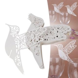 グラスカード ホワイト 10枚 鳥×ハート(カード/レター/ラッピング)