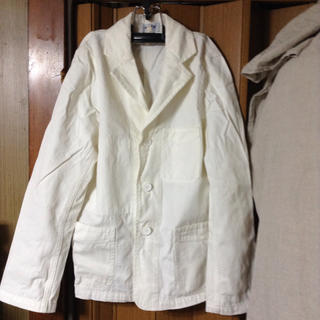 アーメン(ARMEN)の美品 アーメン 白サマージャケット 、ヘリンボーン柄、コットン100%(その他)