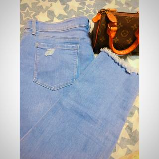 新品♡おしゃれ デニム 裾 かわいい♡大きいサイズ  ゆったり ストレッチ