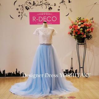 二次会ウエディングドレス セパレート ブルーカラーチュール(ウェディングドレス)