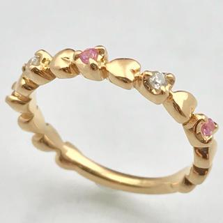ヨンドシー(4℃)の4℃ ハート ダイヤモンド/ピンクサファイア ピンキーリング k18PG(リング(指輪))