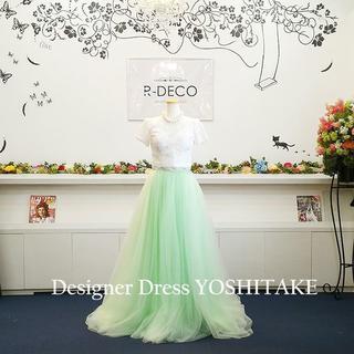 二次会ウエディングドレス セパレート ライトグリーンカラーチュール(ウェディングドレス)