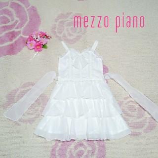 メゾピアノ(mezzo piano)の♡902♡メゾピアノ♡真っ白♪ビーズ付き♪♡サンドレス♪♡120cm♡(ワンピース)
