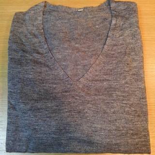ムジルシリョウヒン(MUJI (無印良品))の無印良品 フレンチリネン UVカット Vネックセーター 杢グレー 婦人 L(ニット/セーター)