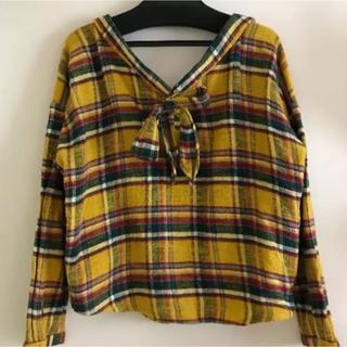 リリーブラウン(Lily Brown)のディアシスター ♡ バックリボンネルシャツ(シャツ/ブラウス(長袖/七分))