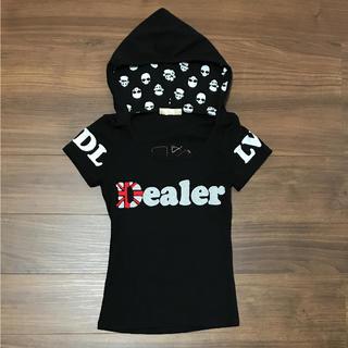 アクアネーム(AquaName)のTシャツ 半袖 フード Uネック ドクロ 黒(Tシャツ(半袖/袖なし))