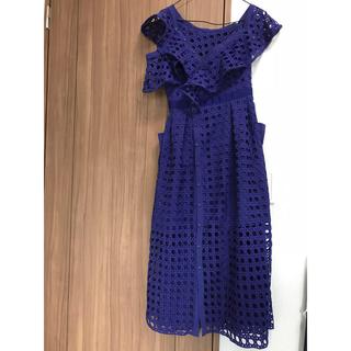 セルフポートレイト(SELF PORTRAIT)のアシンメトリー ドレス ブルー(ロングドレス)