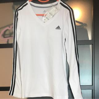アディダス(adidas)のアディダス Vネック ロングTシャツ(Tシャツ(長袖/七分))