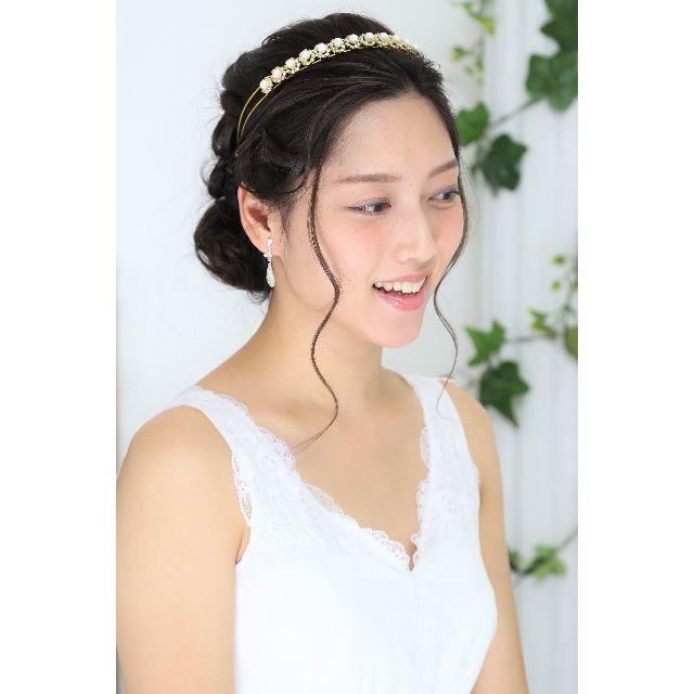 【新品】ティアラ風カチューシャ *ビジュー&パール×ゴールド レディースのフォーマル/ドレス(ウェディングドレス)の商品写真