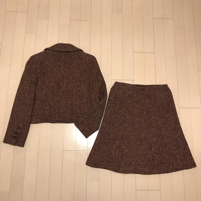 f337935b41fcba CHANEL(シャネル)の本物 シャネル ツイード ダブルボタン ノッチド スカートスーツ 38 茶系