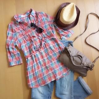 グローブ(grove)の大人カワイイ 7分袖 チェックシャツ  ローリーズファーム系(Tシャツ(長袖/七分))