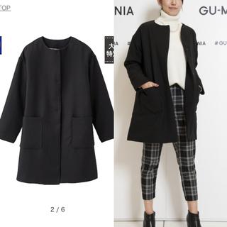 ジーユー(GU)のGWセール!! 美品 GU  Aライン中綿キルティングコート  ブラック(ロングコート)
