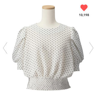 ジーユー(GU)のGU/ジーユー  ドットプリントブラウス M ホワイト 白(シャツ/ブラウス(半袖/袖なし))