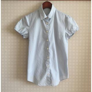 ニジュウサンク(23区)の23区 水色ストライプ 半袖シャツ パフ袖(シャツ/ブラウス(半袖/袖なし))