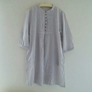 ムジルシリョウヒン(MUJI (無印良品))のお値下げ 七分袖 ワンピース チュニック 綿100%(ひざ丈ワンピース)