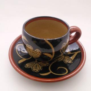 天目花唐草 コーヒーカップ4ヶセット(茶皿つき)/有田焼(食器)