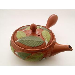 竹春朱泥浅平丸木の葉/常滑焼(食器)