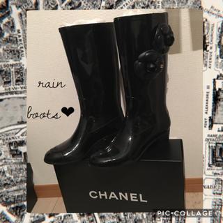 シャネル(CHANEL)のシャネル レインブーツ カメリア 長靴 ブラック ココマーク 本物(レインブーツ/長靴)