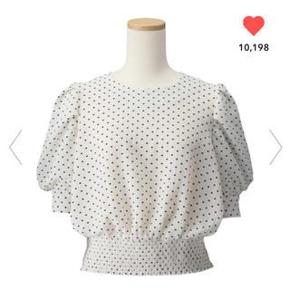 ジーユー(GU)のGU/ジーユー  ドットプリントブラウス L ホワイト 白(シャツ/ブラウス(半袖/袖なし))
