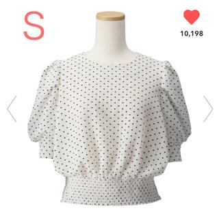 ジーユー(GU)のGU/ジーユー  ドットプリントブラウス S ホワイト 白(シャツ/ブラウス(半袖/袖なし))