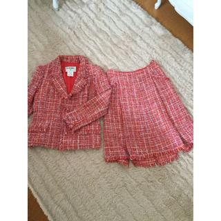 シャネル(CHANEL)の美品!素敵なシャネルジャケット&スカート スーツ セットアップ 赤 レッド(セット/コーデ)
