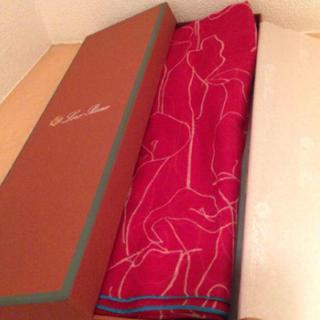 ロロピアーナ(LORO PIANA)の新品 ロロピアーナ  スカーフ 赤 ペイズリー 花 カシミヤ(バンダナ/スカーフ)