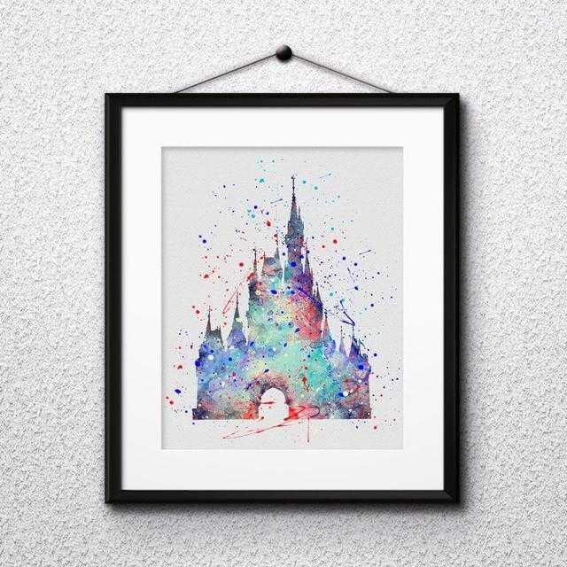 Disney(ディズニー)のシンデレラ城(ディズニーランド)アートポスター【額縁付き・送料無料!】 エンタメ/ホビーのアニメグッズ(ポスター)の商品写真