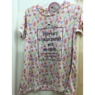 ポムポムプリン(ポムポムプリン)の新品 花柄 ピンク ポムポムプリン tシャツ 大人かわいい L(Tシャツ(半袖/袖なし))