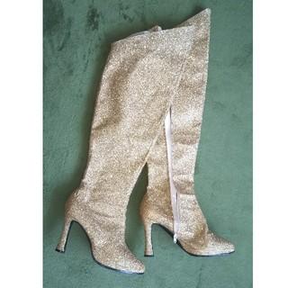ゴールドラメロングブーツ(ブーツ)