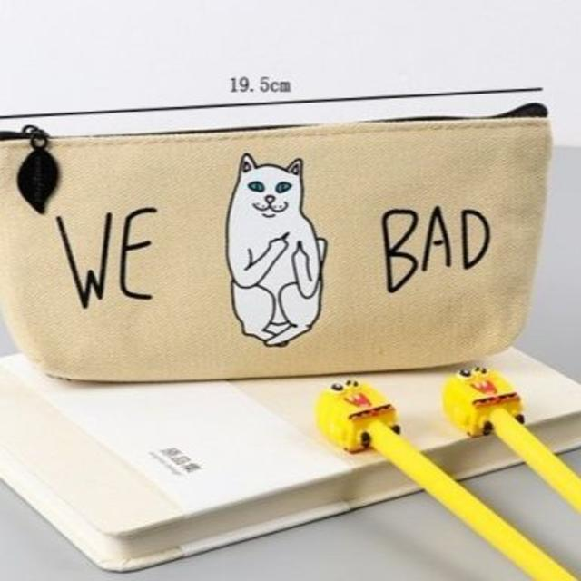 猫 ネコ 猫ペンケース WE BAD! ベージュ♪ 新品未使用品 送料無料♪ その他のペット用品(猫)の商品写真
