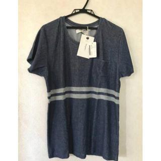 バーニーズニューヨーク(BARNEYS NEW YORK)の<SEAGREEN(シーグリーン)>パイル地Tシャツ★ネイビー★L(Tシャツ(半袖/袖なし))