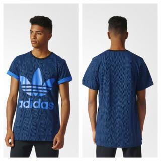 アディダス(adidas)の新品 完売 adidas Tシャツ O XL メンズ ロゴ 青 ブルー ロング丈(Tシャツ/カットソー(半袖/袖なし))