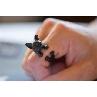 ♪♪ ブサカワ犬 フレンチブルドッグ black(リング(指輪))