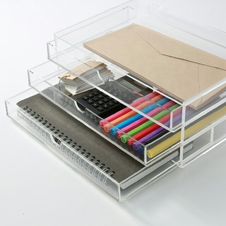 ムジルシリョウヒン(MUJI (無印良品))の新品 無印良品 重なるアクリルケース 3段 コスメ ケース 収納 IKEA(小物入れ)