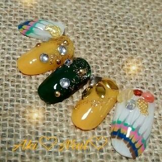 ジェルネイルチップ☆付け爪/ピーコック×パイナップル〜オレンジ&グリーン