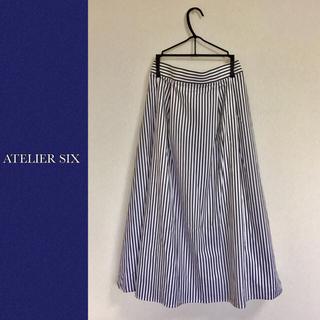 【新品】ATELIER SIX(アトリエシックス) ストライプ フレアスカート