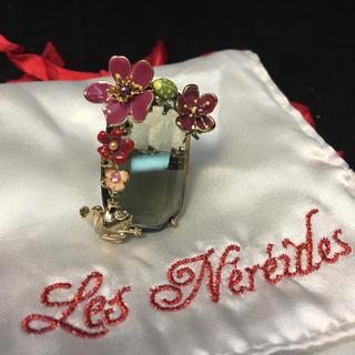 レネレイド(Les Nereides)のレネレイド リング ブラックストーンてんとう虫 カエル 花 デザイン 14号(リング(指輪))