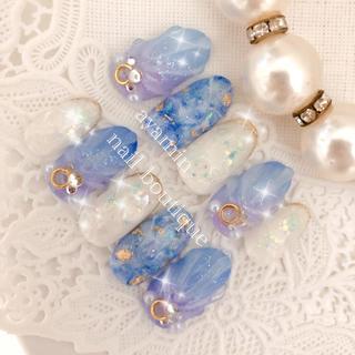 ブルー系 奥行き大理石×マーメイド ジェルネイルチップ