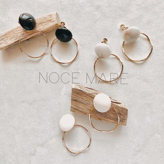 -marble stone hoop-(ピアス)