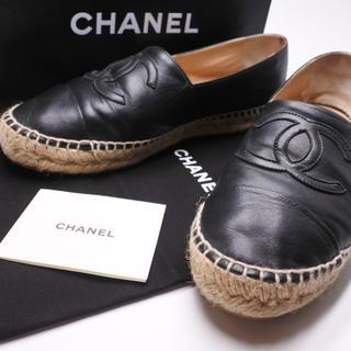 シャネル(CHANEL)のシャネル エスパドリーユ シューズ 靴 40 レザー 中古 箱付き スニーカー(スニーカー)