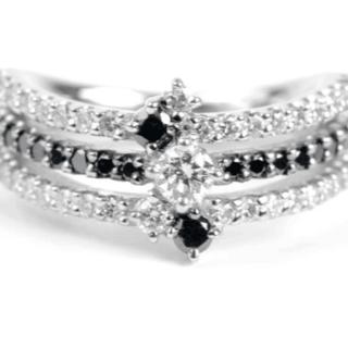 PT900 ブラックダイヤモンド /ダイヤモンド0.70ct リング 9号 指輪(リング(指輪))